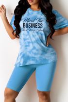 Peacock Blue Casual Patchwork Tie-dye Letter O Neck Short Sleeve Two Pieces