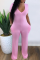 Pink Casual Solid Split Joint V Neck Skinny Jumpsuits