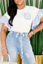 Blue Casual Print Split Joint Pocket Frenulum Beading O Neck T-Shirts