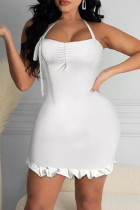 White Fashion Sexy Solid Backless Halter Sleeveless Dress
