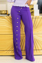 Purple Fashion Casual Solid Basic Regular High Waist Trousers