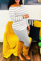 Grey Casual Striped Split Joint Off the Shoulder Long Sleeve Two Pieces
