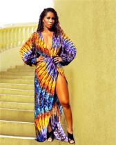 purple Bohemian Long Sleeves V Neck Asymmetrical Floor-Length Print Dresses