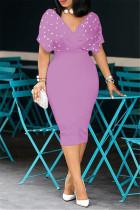 Light Purple Fashion Solid Beading V Neck Short Sleeve Dress