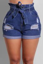 Blue Casual Solid Split Joint High Waist Regular Denim Shorts