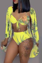 Yellow Sexy Printed Bikini Three-piece Swimwear