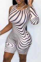 White Fashion Sexy Print Asymmetrical O Neck Skinny Romper