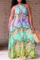 Cyan Fashion Sexy Plus Size Print Backless Fold O Neck Sleeveless Dress
