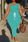Sky Blue Casual Solid Split Joint O Neck Plus Size Jumpsuits