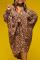 Leopard Print Sexy Leopard Split Joint V Neck Cake Skirt Plus Size Dresses