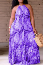 Purple Fashion Sexy Plus Size Print Backless Fold O Neck Sleeveless Dress