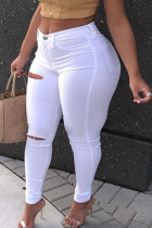 White Street Solid Buttons Plus Size