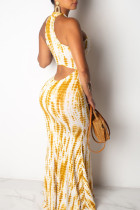 Yellow White Sexy Print Hollowed Out Split Joint Halter Straight Dresses