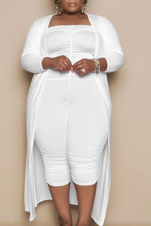 White Casual Solid Split Joint O Neck Plus Size Two Pieces
