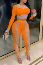Orange Fashion Sexy Patchwork O Neck Long Sleeve Two Pieces