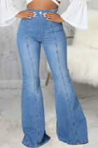 Blue Casual Solid Split Joint Mid Waist Boot Cut Denim Jeans