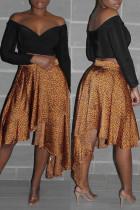 Gold Fashion Casual Print Leopard Asymmetrical Regular High Waist Skirt