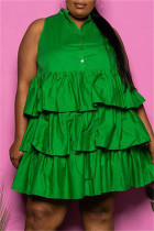 Green Fashion Casual Plus Size Solid Split Joint Sleeveless Dress