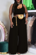 Black Sexy Casual Solid Hollowed Out O Neck Sleeveless Two Pieces