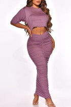 Purple Casual Solid Split Joint Fold O Neck Short Sleeve Two Pieces