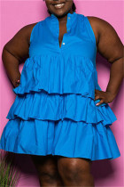 Blue Fashion Casual Plus Size Solid Split Joint Sleeveless Dress