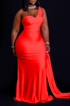 Red Casual Solid Split Joint One Shoulder Trumpet Mermaid Dresses