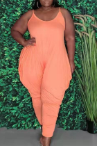 Tangerine Red Casual Solid Split Joint Spaghetti Strap Plus Size Jumpsuits