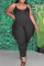 Black Casual Solid Split Joint Spaghetti Strap Plus Size Jumpsuits