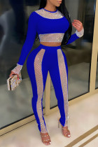 Blue Fashion Sexy Patchwork O Neck Long Sleeve Two Pieces