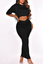 Black Casual Solid Split Joint Fold O Neck Short Sleeve Two Pieces