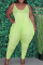 Light Green Casual Solid Split Joint Spaghetti Strap Plus Size Jumpsuits
