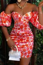 Red Elegant Print Split Joint Off the Shoulder A Line Dresses