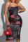 Red Sexy Print Split Joint Spaghetti Strap Pencil Skirt Dresses