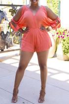 Pink Fashion Casual Solid Without Belt V Neck Regular Romper