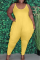 Yellow Casual Solid Split Joint Spaghetti Strap Plus Size Jumpsuits