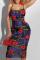 Purple Sexy Print Split Joint Spaghetti Strap Pencil Skirt Dresses