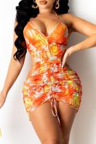 Orange Fashion Sexy Print Backless V Neck Sling Dress