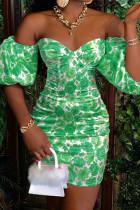 Green Elegant Print Split Joint Off the Shoulder A Line Dresses