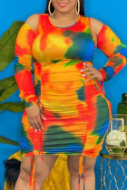 Orange Fashion Plus Size Tie Dye Draw String Fold O Neck Long Sleeve Dresses