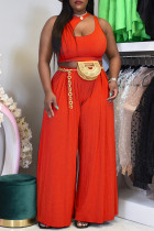 Tangerine Red Sexy Casual Solid Hollowed Out O Neck Sleeveless Two Pieces