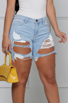Baby Blue Casual Solid Ripped Mid Waist Skinny Denim Shorts