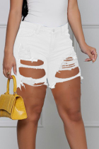 White Casual Solid Ripped Mid Waist Skinny Denim Shorts