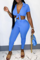 Blue Sexy Casual Solid Bandage Turndown Collar Short Sleeve Two Pieces
