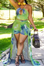 Green Fashion Print Tie Dye Hollowed Out Backless Halter Sleeveless Two Pieces