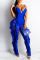 Blue Sexy Solid Split Joint Spaghetti Strap Skinny Jumpsuits