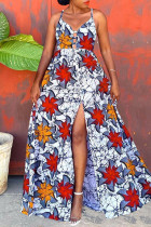 Red Sexy Print Backless Strap Design Spaghetti Strap Long Dress