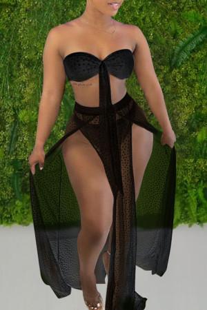Black Sexy Print Polka Dot Bandage Hollowed Out Split Joint Swimwears