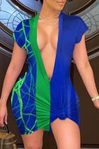 Blue Sexy Casual Print Basic V Neck Short Sleeve Dress