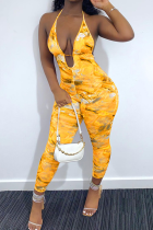Yellow Sexy Print Split Joint V Neck Skinny Jumpsuits