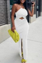 White Sexy Solid Hollowed Out Backless Slit Spaghetti Strap Long Dress